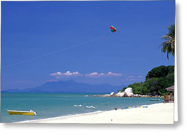 White Sand Beach Penang Malaysia Greeting Card by Panoramic Images
