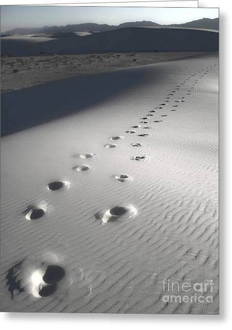 White Sands New Mexico Footsteps Greeting Card by Gregory Dyer