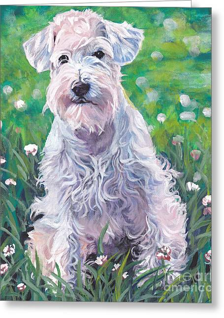 White Schnauzer Greeting Card by Lee Ann Shepard