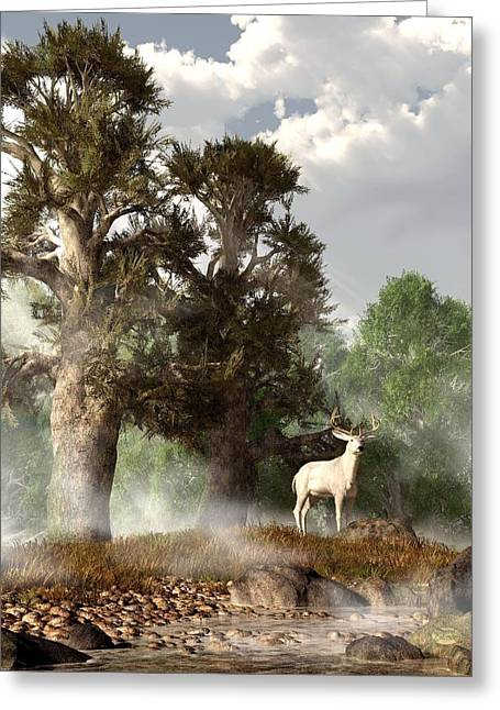 White Stag On A Misty Morning Greeting Card by Daniel Eskridge