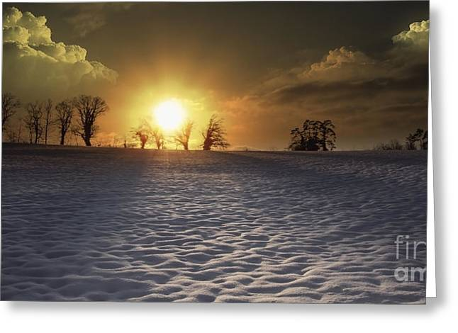White Sunset Greeting Card