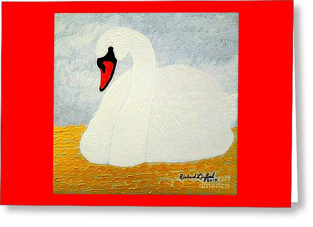 White Swan Lake Greeting Card by Richard W Linford