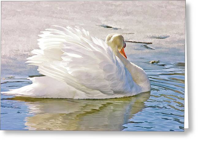 White Swan Greeting Card by Elaine Manley