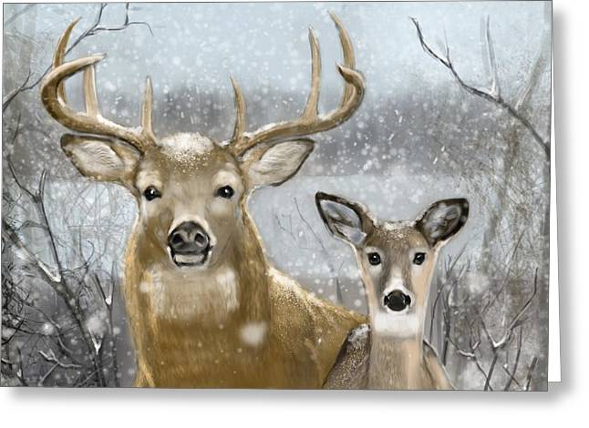 White Tail Winter Greeting Card by Eric Smith