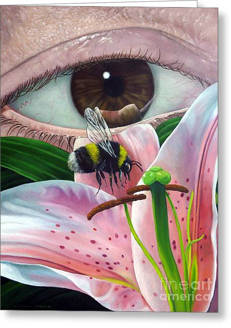 White Tailed Bumble Bee Upon Lily Flower Greeting Card