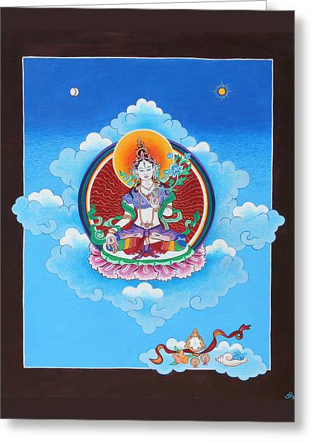 White Tara Greeting Card by Sarah Grubb