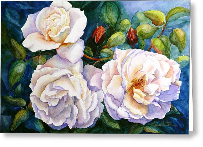 Greeting Card featuring the painting White Teas Rose Tree by Karen Mattson