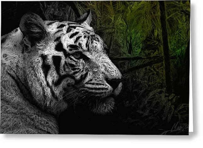 White Tiger Greeting Card by Marina Likholat