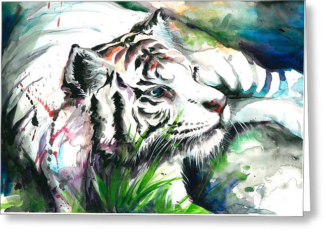 White Tiger Resting Greeting Card by Tiberiu Soos