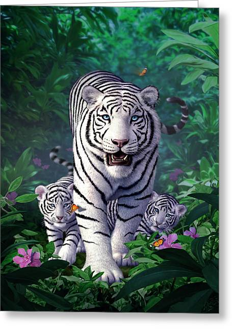 White Tigers Greeting Card by Jerry LoFaro