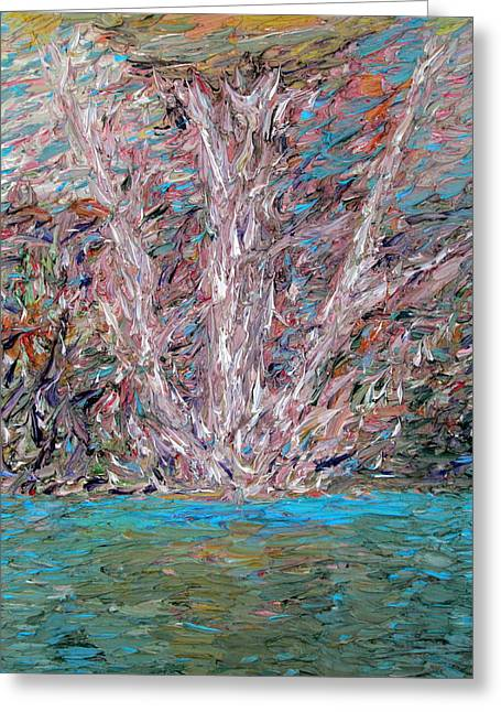 White Tree Over The Water Greeting Card by Fabrizio Cassetta