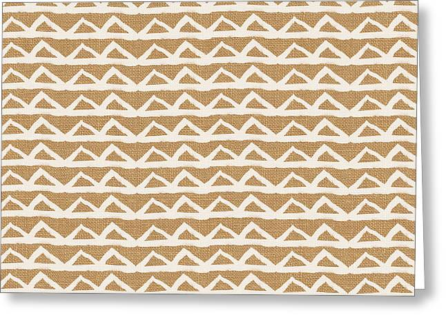 White Triangles On Burlap Greeting Card by Linda Woods