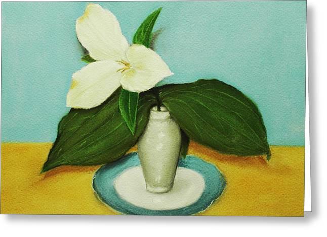 White Trillium Greeting Card by Anastasiya Malakhova