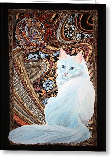 Greeting Card featuring the painting White Turkish Angora by Leena Pekkalainen