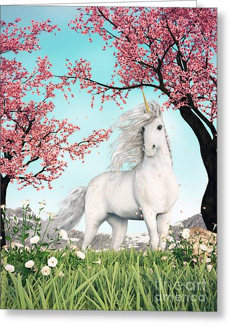 White Unicorn Amongst Cherry Trees Greeting Card