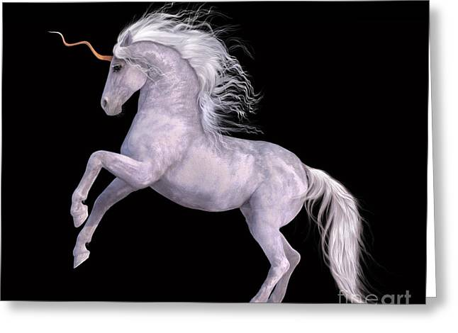 White Unicorn Black Background Half Rear Greeting Card by Elle Arden Walby