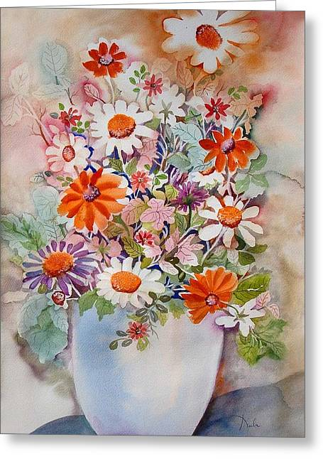 White Vase With Daisies Greeting Card by Neela Pushparaj