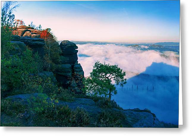 White Wafts Of Mist Around The Lilienstein Greeting Card