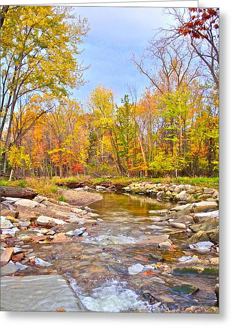 White Water Autumn Greeting Card by Frozen in Time Fine Art Photography