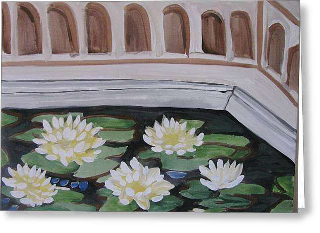 Greeting Card featuring the painting White Water Lilies by Vikram Singh