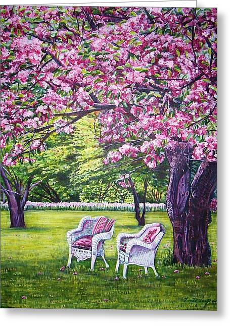 White Whicker Chairs Greeting Card by Linda Vaughon