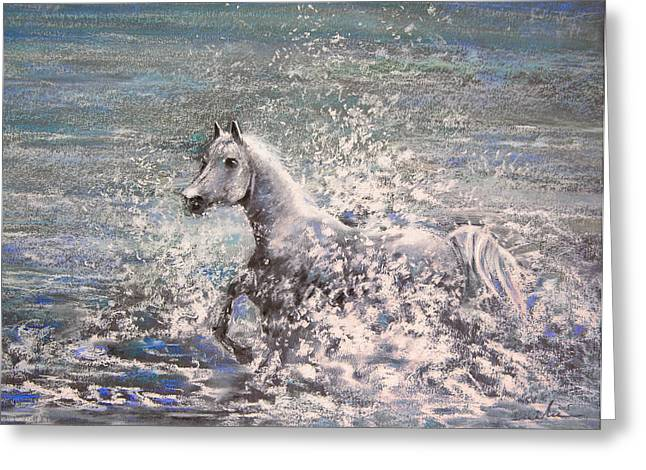 White Wild Horse Greeting Card by Miki De Goodaboom