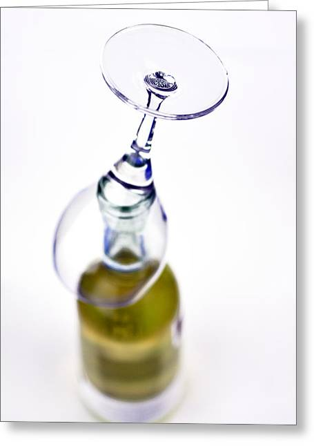 White Wine And Glass Greeting Card by Tommytechno Sweden