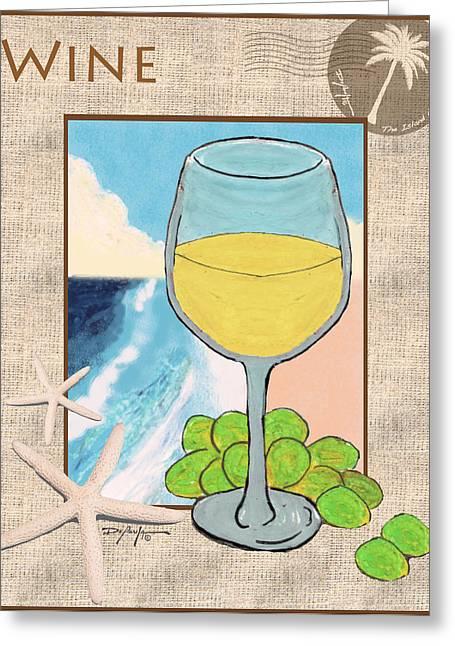 White Wine Beachside Greeting Card by William Depaula