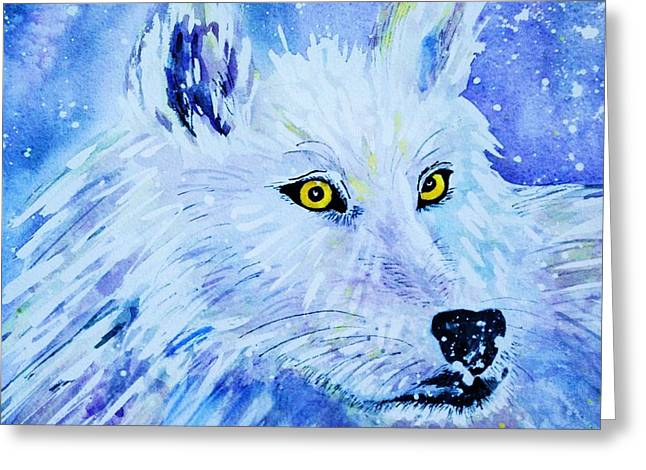 White Wolf - Aurora Nights In Blues - Square Greeting Card by Ellen Levinson