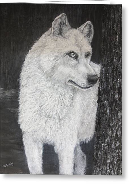 White Wolf On Guard Greeting Card