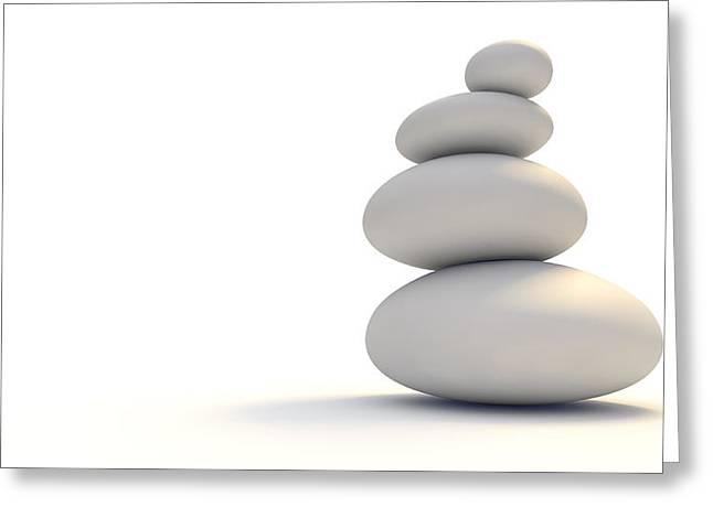 White Zen Stones Greeting Card