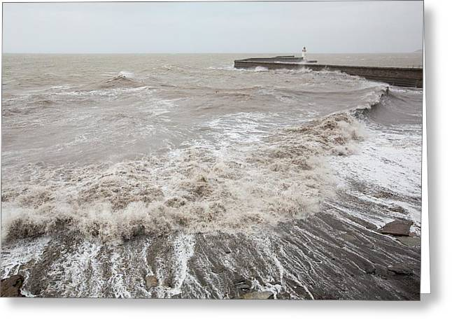 Whitehaven Harbour Storm Greeting Card by Ashley Cooper