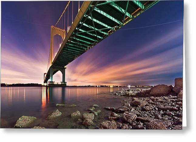 Greeting Card featuring the photograph Whitestone Bridge by Mihai Andritoiu