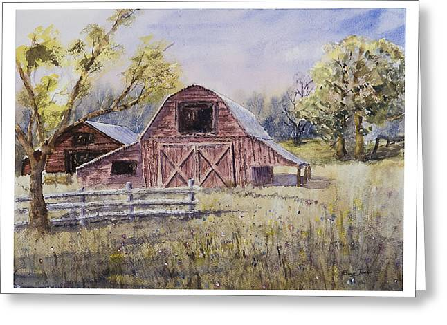 Whiteville Barn Greeting Card by Barry Jones