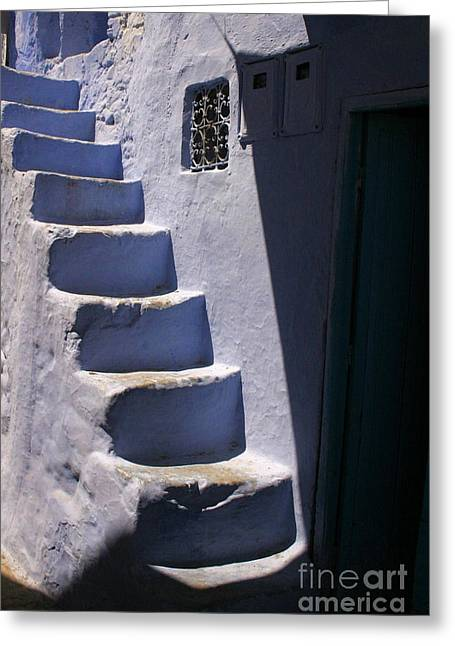 Whitewashed Steps In The Medina Of Asilah On Northwest Tip Of Atlantic Coast Of Morocco Greeting Card by Ralph A  Ledergerber-Photography