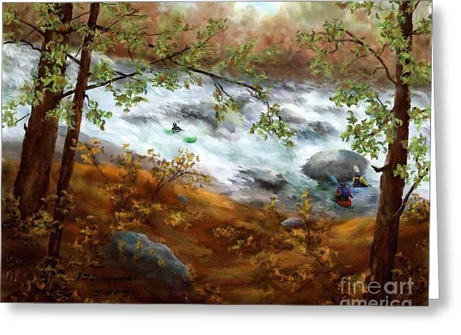 Whitewater Kayaking Greeting Card by Judy Filarecki