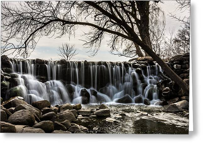 Whitnall Waterfall In Spring Greeting Card