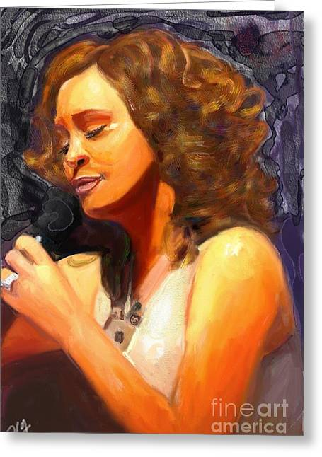 Greeting Card featuring the painting Whitney Gone Too Soon by Vannetta Ferguson