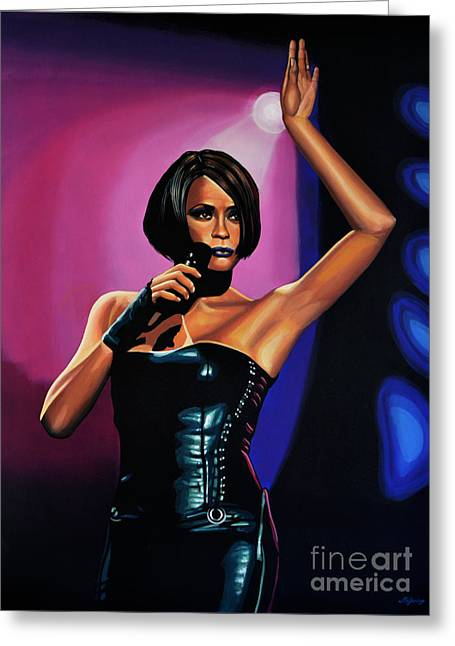 Whitney Houston On Stage Greeting Card