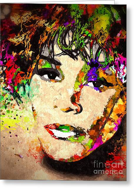 Whitney Houston Greeting Card by Daniel Janda