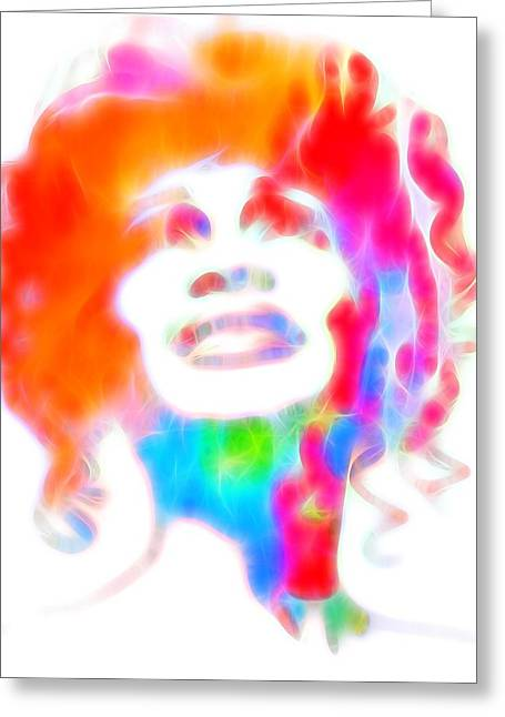 Whitney Houston Glowing Greeting Card by Dan Sproul