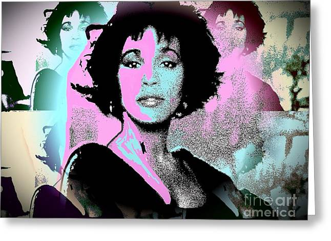 Whitney Houston Sing For Me Again Greeting Card by Saundra Myles