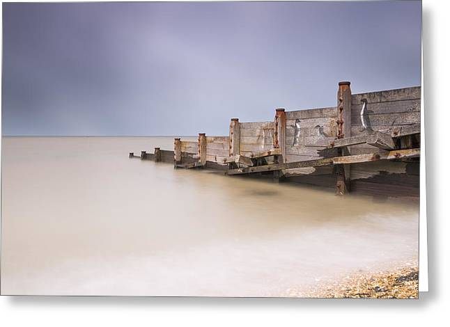 Whitstable Beach - Penguins Greeting Card by Ian Hufton