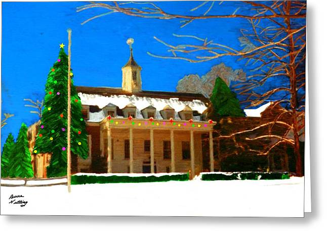 Whittle Hall At Christmas Greeting Card