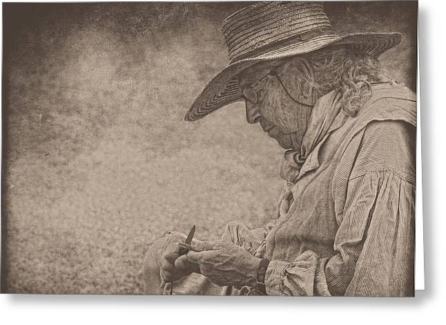Whittling Greeting Card by Pat Abbott