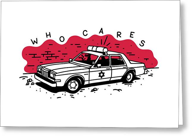 Who Cares Old American Police Car Near Greeting Card