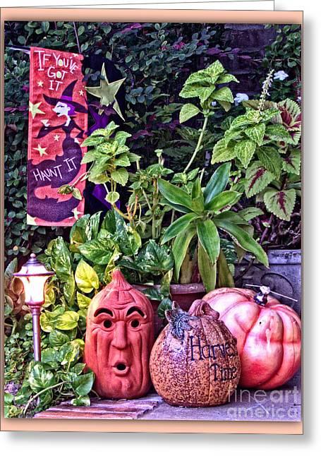Who Scared Pumpkin Head? Halloween Display Greeting Card by Ella Kaye Dickey