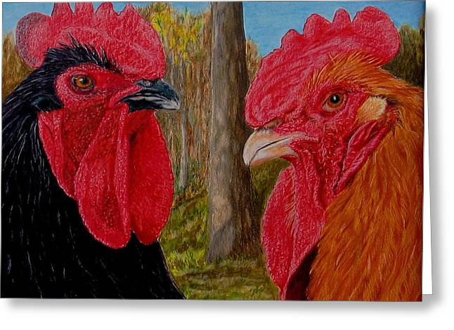 Greeting Card featuring the painting Who You Calling Chicken by Karen Ilari