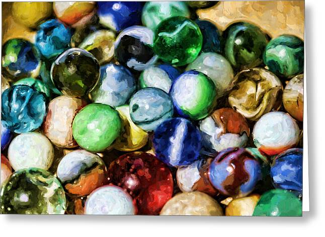 Whole Bag Of Marbles Greeting Card