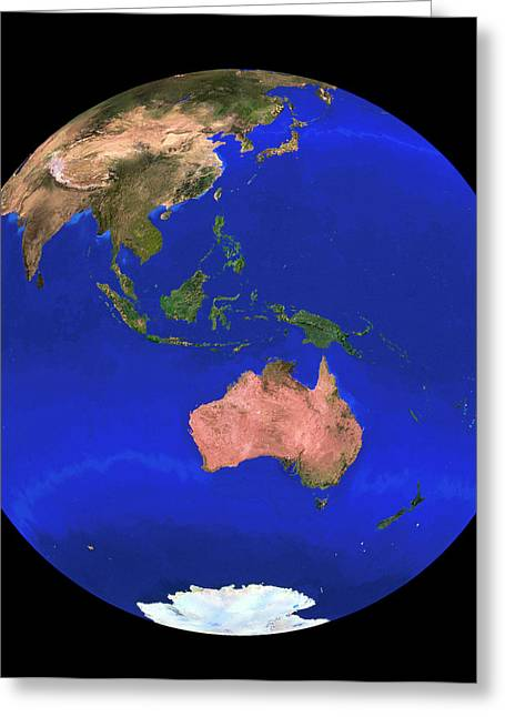 Whole Earth Noaa Satellite Mosaic (1km Resolution) Greeting Card by Copyright 1995, Worldsat International And J. Knighton/science Photo Library